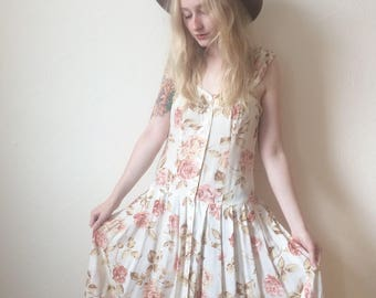 Vintage 90s Pastel Floral Midi Dress size S/M