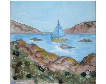 Collage painting - blue seascape painting