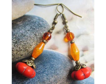 """""""Howlite glass and lucite beads"""" earring on brass bronze"""