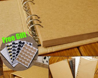 80 Pages Ring Binder Photo Album /Kraft Scrapbook Album /Wedding Album /Wedding Guest Book (Free gift:Photo corners stickers)TZ1885