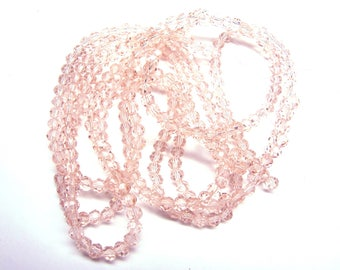 20 ROUND PALE PINK CRYSTAL BEADS HAVE FACETED 5 MM
