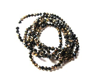 25 ROUND GLASS BEADS FACETED BLACK TWO-TONE MORDORE 3 MM