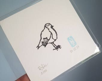 Mini Robin Linoprint | Limited | Lino | Signed | Dated | Numbered