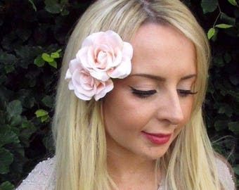 Double Light Peach Pink Rose Flower Hair Clip Bridesmaid Fascinator 1950s 3239
