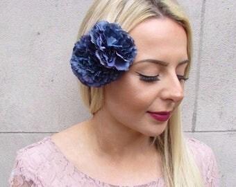 Double Navy Blue Carnation Flower Hair Clip Fascinator Rockabilly 1950s 4388