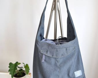 dark gray large bucket bag with drawsting,lunch bag,bucket bag,tote bag,gym bag,makeup bag,accessories bag,gift for her