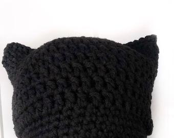 Black Women's March Hat, black kitty hat, resist hat, activist hat, protest hat, black crochet hat, equality for all, feminism, winter hat
