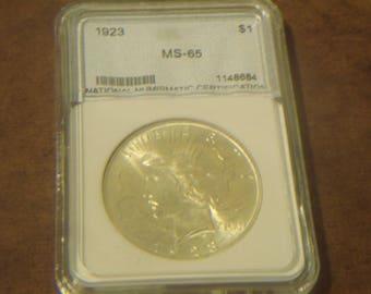 MS65 1923 P Peace Silver Dollar