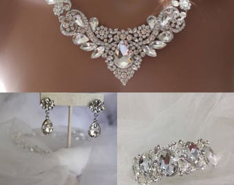 Bridal jewelry set Crystal Deco Nouveau Style Bridal jewelry set Crystal Deco Nouveau Style Necklace with Earring and bracelet