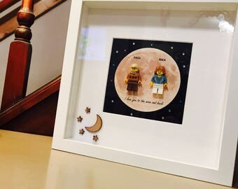Moon and Back Gift - Lego Love Frame