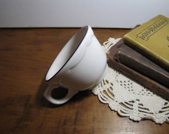 Buffalo China - Restaurant Ware - Heavy Coffee Cup - Creamy White - Black Accent Band