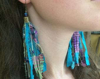 Cyan Sari Silk Festival Tassel Earrings, Long Boho Festival Tassel Earrings, Bohemian Tassel Earrings, Festival Earrings, Boho Jewelry