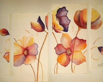 4 Pieces - Anissima size 21cm watercolor poppies * 29. 7 cm