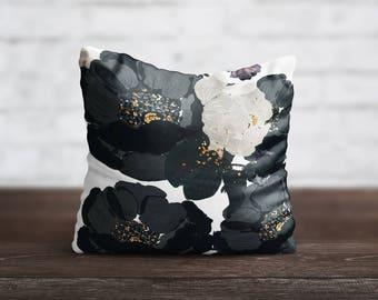 PillowCase Black Floral Throw Pillow Cover Luxury Pillow Toss Silk Pillow Case Cute Flower Cushion Satin PillowCase Sofa Home Decor Her Gift