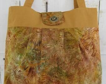 Handbag, Fabric, Purse, Batik Sunflower print,  gold/bronze multi color, pleated, twist lock,  handmade, fashion accessory,