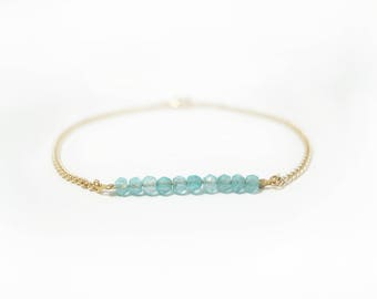Natural apatite bracelet, silver and gold chain