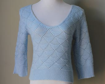 1970s Baby Blue Knit Sweater