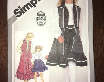 Last Chance Sale Uncut Vintage Simplicity Pattern #5162 - Girls WESTERN Blouse, Quilted Vest, Ruffled Skirt - Jessica Gunne Sax Ltd