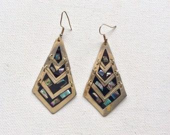 Sterling 80's Abalone Dangle Earrings