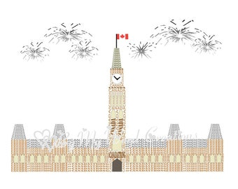 Canada Word Art, Canadian Parliament Building Art, Canada Art, Veteran Gift, Birthday Gift, Remembrance Day Art, Canada Day,INSTANT DOWNLOAD
