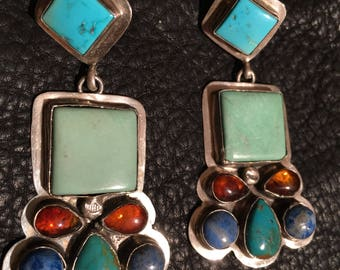 Navajo Native American Green and Blue Turquoise with Amber Drop Post Earring
