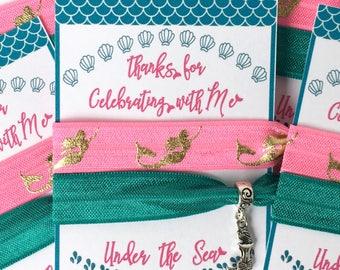 Mermaid Party Favors! Mermaid hair ties, mermaid party, under the sea, tween party, girls party favors, mermaid gift, mermaid charm,