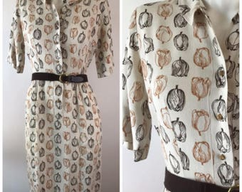 Vintage 40s Linen Tulip Print Shirt Dress Belted Beige Brown The Colleger