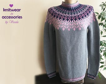 Wool Sweater Icelandic Sweater Kids Adults Nordic Knit Pullover Made To Order