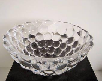 """Orrefors Sweden Anne Nilsson - clear crystal bowl Raspberry  - Kosta Boda - diameter 8.25"""" / 21 cm"""