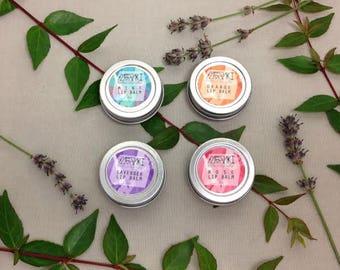 vegan lip balm set \ rose, lavender, orange, and mint \ 0.5 oz \ vegan lip balm \ all natural lip balm \ organic lip balm
