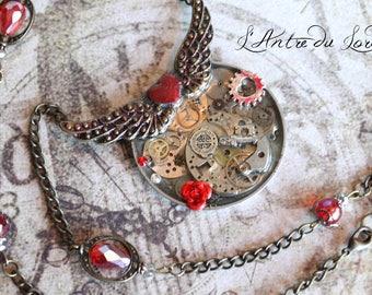 """Collier steampunk romantique mécanismes ancien couleurs bronze, argent et rouge """"Loving gears"""""""
