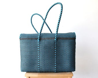 Black & Blue, Woven Mexican bag, Picnic Basket, Beach Bag, Gifts for her, Mexican Gifts, Oaxaca Tote Bag, Woven Bag, Mexican Basket