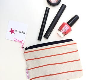 Natural and Red Stripe Coin Purse, Small Zipper Pouch, Organiser, Small Zipper Pouch, Women's Wallet, Change Pouch, Zip Bag