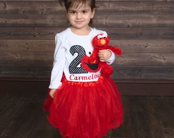 2nd Birthday Elmo Shirt, Elmo Birthday Shirt, Boy Birthday Shirt, Personalized Birthday Shirt, Elmo Birthday Outfit, Girl Birthday Shirt