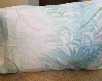 Vintage Cannon Pillowcase, Green Ferns, Tropical print, RARE