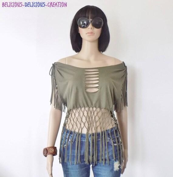 Originale T-Shirt Femme !! FRINGENET !! EN Coton Jersey khaki Taille L long 61cm belicious-delicious-creation