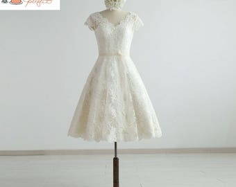 Knee Length  V Neckline Cap Sleeves Lace Wedding Dress