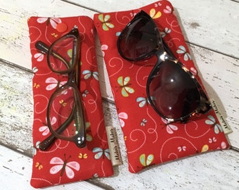 Happy Butterfly Glasses Case, Slim or Wide Size, Pretty Sunglasses Pouch, Soft Specs Bag, Gift for Her, Padded Reading Glasses Holder