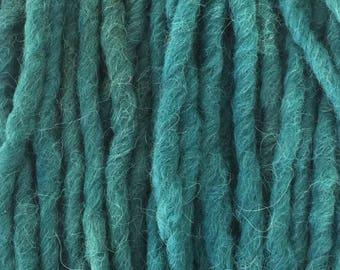 Hand Dyed Yarn, Bulky, Alpaca, Wool, Hand Dyed Teal Yarn