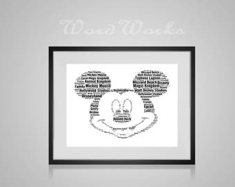 "Personalised Word Art Mickey Mouse  **Buy 3 prints get the 4th FREE**  Use coupon code "" MYFREEONE """