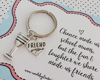 School Mum Friend bestie charm keyring gift - BFF, friendship