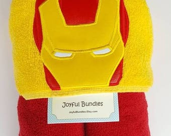 Hooded Towel, Iron Man Hooded Towel, Kid's Hooded Towel, Iron Man Bath Towel, Iron Man Beach Towel, Iron Man Pool Towel