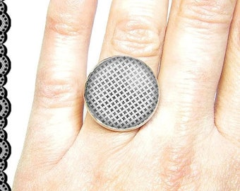 Adjustable ring with cabochon 18 mm * geometric * (030617)