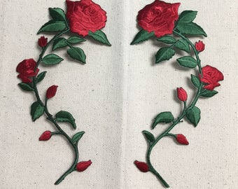 Large - Red Rose - Open Petals on Long Stem - Flowers - Facing LEFT or RIGHT - Iron on Applique - Embroidered Patch - 695735