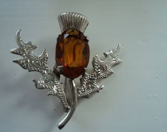 Silver Scotish Thistle flower brooch with Citrine