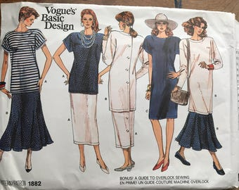 1987 Vogue's Basic Design Tunic Dress, Dropped ShoulderTop, Straight Tube Pencil or Flared Skirt w/ Optional Buttons sz 14 16 18 #1882
