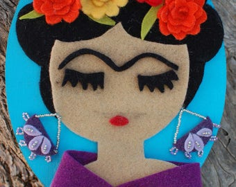 Frida Kahlo- Portrait- Felt Frida- Feltro di lana Firda- Decorazione Frida Kahlo
