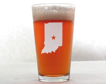 Indiana Beer Glass - State Pint Glass - Pint Glass - Personalized Pint Glass - Etched Pint Glass - Groomsmen Pint Glass