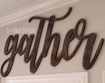 Large DISTRESSED Gather Sign (Choose Stain or Paint Color), Rustic Farmhouse Chic, Wooden Letters, Home Decor, Wooden Phrase, Shelf Sign