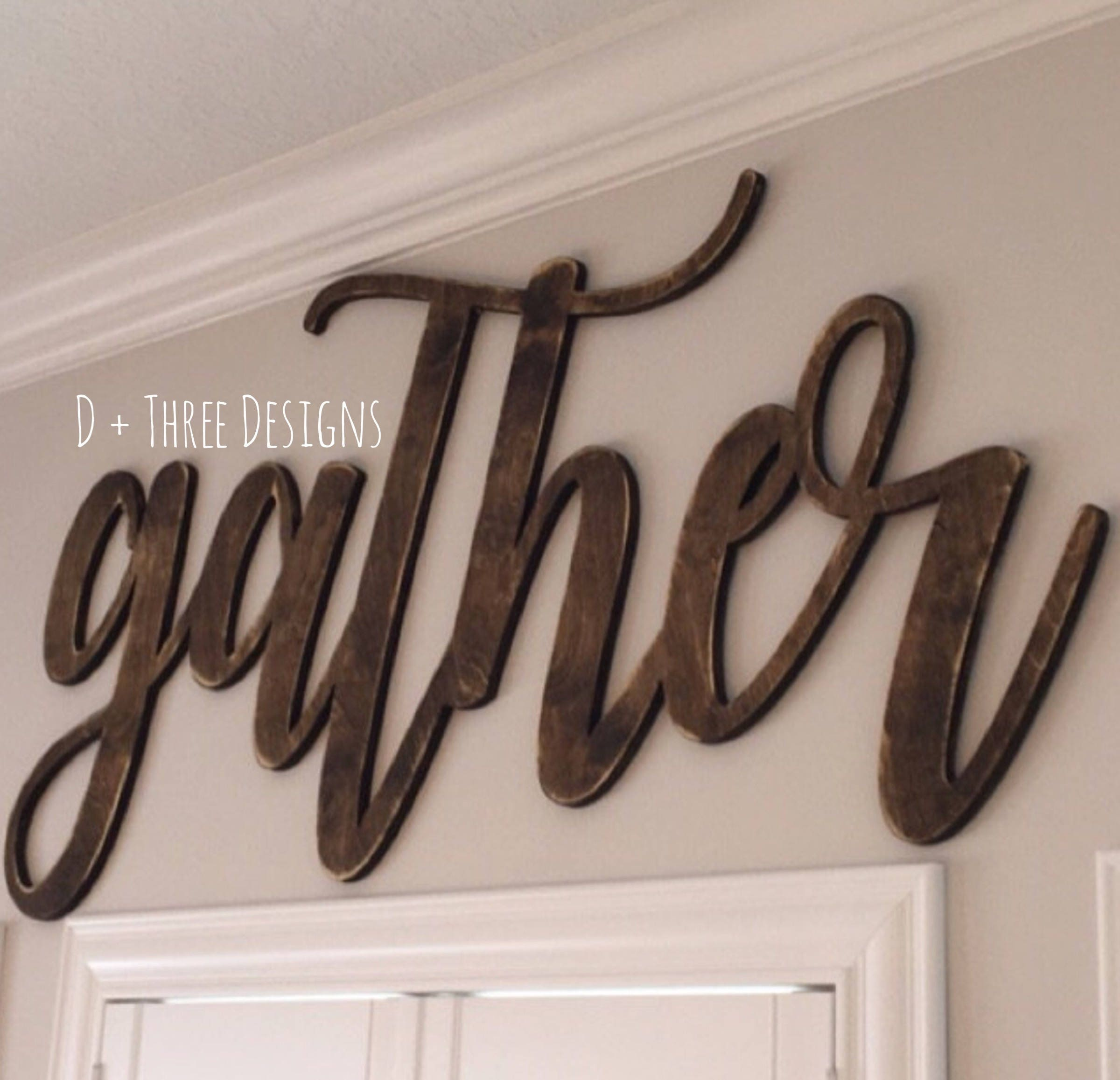 Large Wooden Signs Home Decor: Large DISTRESSED Gather Sign (Choose Stain Or Paint Color